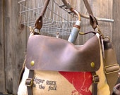 United Hagis - Iowa -  Donkey RARE  - Vintage Seed Sack Leather Satchel Bag - Americana Leather Canvas & Leather Bag... Selina Vaughans