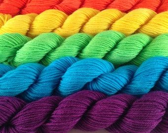 Disco Rainbow mini set: Hand-dyed 75-25 SW merino/nylon, 20g/90 yards each