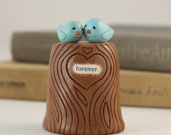 Rustic Wedding- Bluebird Cake Topper- Clay Love Birds