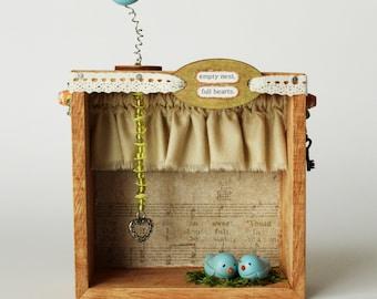 Empty Nest Nature Shadow Box- Bird's, Bluebirds- Home Decor
