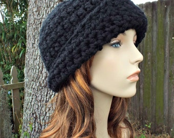 Crochet Hat Womens Hat 1920s Flapper Hat - Garbo Cloche Hat in Black Crochet Hat - Black Hat Black Cloche Womens Accessories Winter Hat