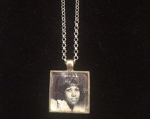 Retro Aretha Franklin Square Silver Pendant Necklace