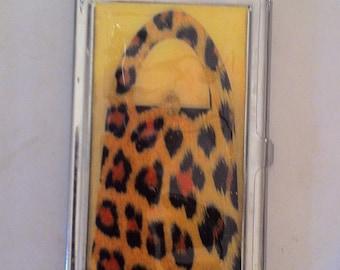 Retro Leopard Purse Business Card Holder Credit Card I.D. Case