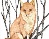 Fox Art,Fox Watercolor, Fox Print,  Woodland Art, Red Fox Art, Nature Art, Fox Painting, Children's Art, Farmhouse Art, Girls Wall decor