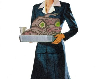 Odd Monster Art, Original Mixed Media Artwork Collage on Paper, Retro Airline Stewardess Flight Attendant, Funny Food Decor Surreal Wall Art