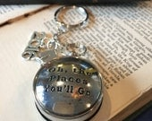 Graduation Gift Compass Keychain Dr. Seuss Oh the Places You'll Go Keychain Quote Keychain Dr. Seuss Keychain Silver Compass Keychain