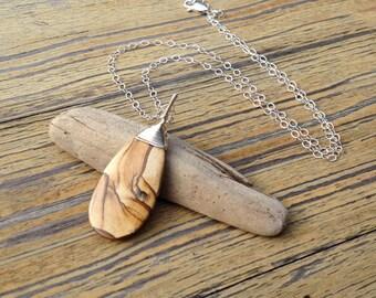 Picture Jasper Sterlin Silver Semiprecious Stone Wirewrap Pendant Necklace