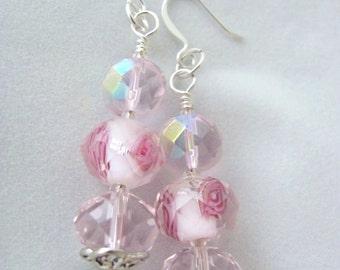 SALE Pink Earrings Pink Flower Earrings Faceted Glass Bead Earrings Encased Roses Gift for Girlfriend Daughter Wife