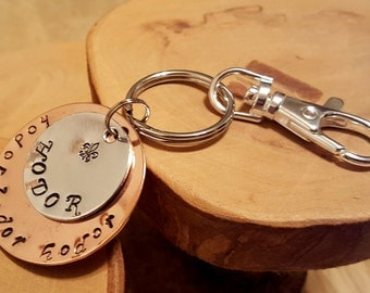 HODOR layered mixed metal hand stamped copper and aluminum GOT inspired keychain