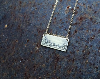 Toledo Ohio skyline necklace | Toledo skyline pendant in sterling silver, copper or brass | jewelry for her