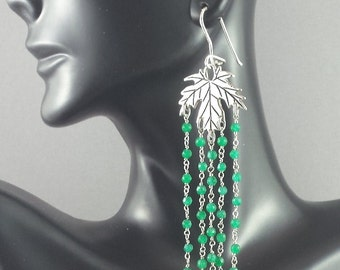 Long emerald chandelier earrings. Maple leaf silver earrings. Boho chic