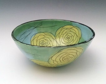 Ceramic Serving Bowl with Yellow Roses