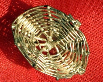 Sterling Vintage Charm SaLe Was 14 Basket 925 Tisket Tasket Silver Mid Century 925 Signed Unique Woven Wicker Pendant Kitschy Cottage Chic