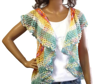 Crochet Mandala Circle Vest Bohemian Wrap  Boho Gypsy Shrug Womens  Hippie Clothes