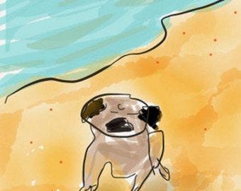 Pug Note Cards - Pug Beach ~ Be a Pug Sponge and Soak in the Sunshine!