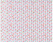 HALF YARD Yuwa - Ultra Mini Bows and Cherries on WHITE - Atsuko Matsuyama 30s collection - Bow, Cherry-  Japanese Import Fabric