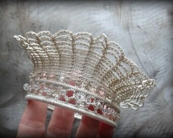 Crocheted Lace Cuff, Small, Ruffled, Wide, Original, Handmade, Unique, Nature, Wedding, Bride, Bohemian, Monicaj
