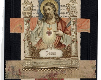 Gift of Peace Jesus Sympathy Collage Greeting Card