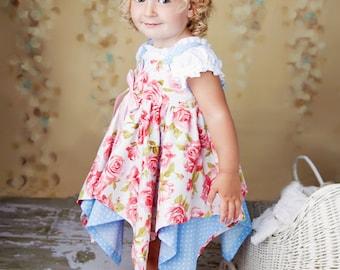 Sewing Pattern - Handkerchief Dress Pattern - Girls Dress PDF Pattern by Tie Dye Diva