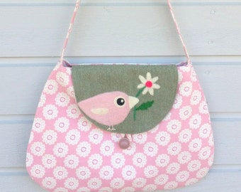 Bag purse handbag shoulderbag pink cotton wool needle felted birdie bird daisy