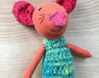 Wool Mouse Doll - Woodland Mouse Plush - Mouse Stuffed Animal - One of a Kind Gift for Babies