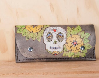 Leather Wristlet Wallet - Womens Large Wallet with Wrist Strap - Walden pattern with sugar skull and flowers in black  - Fits iPhone 6+