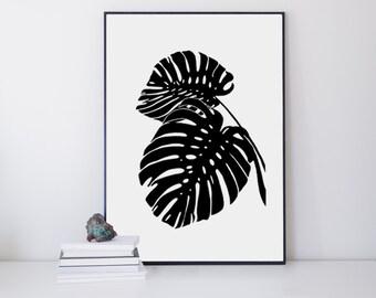 Tropical Wall Art Print - Monstera Leaf - Botanical Decor - Modern Minimal Plant - Tropical Decor - Black and White Modern Art