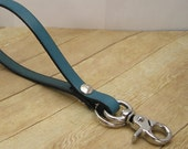 Turquoise Leather Keychain Wristlet With Clip, Clip On Teal Wrist Strap Key Ring, Leather Key Holder, Blue Key Wristlet, Leather Keyring