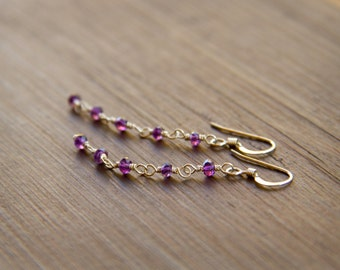 Beautiful February Birthstone Earrings - Tiny Amethyst Stones Wire Wrapped into Earrings on Sterling Silver