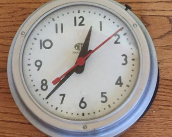 Vintage Mid Century Large School Clock