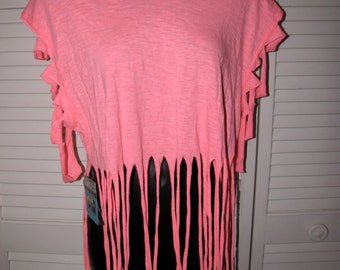 hott pink shredded t shirt crop top with fringe and sliced sleeves one size fits most