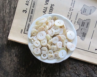 150 Vintage Mother of Pearl Buttons in Small Vintage China Dish