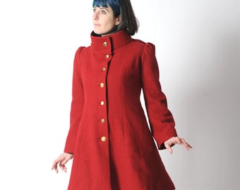 Red wool coat, Red womens coat with pixie hood, Red hooded winter coat, virgin wool coat, sz UK 12 or custom