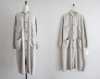long linen duster jacket   vintage linen jacket   linen coat