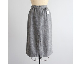 gray wool skirt / midi skirt / tweed skirt