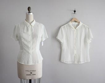cream sheer top / sheer blouse / collared blouse