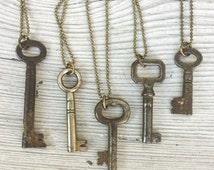 Real Antique Skeleton Key Necklace *BULK OPTIONS*  Mens Necklace. Vintage Industrial. Found Object Jewelry.  bronze Silver mixed metals K27