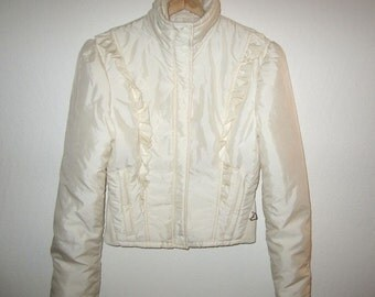 Obermeyer Ruffle Ski Jacket - Vintage 80's - Fits Approx. Women's XS - White Insulated Snow Winter Coat