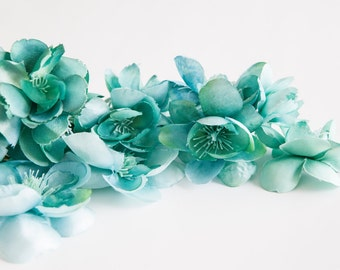 10 Wild and Whimsy Rose Blossoms in Teal - Silk Flowers, Artificial Flowers - ITEM 0485