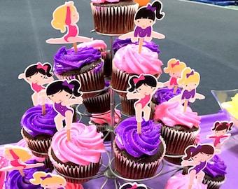 Gymnastics Party Cupcake Toppers / Die Cut Girls  Gymnastics Birthday Cupcake Toppers / Choose Pink OR Purple Leotards / Set of 12