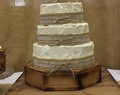 Rustic Wedding Wooden Cake Stand set of 2 Octagon & Square Riser Base woodland Barn Wood Country Rustic Cake stand for cake or cupcake