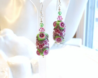 Pink Green Lampwork Earrings, Pink Earrings, Green Earrings, Statement Earrings, Lampwork Silver Dangle Earrings, Pink Crystal Earrings