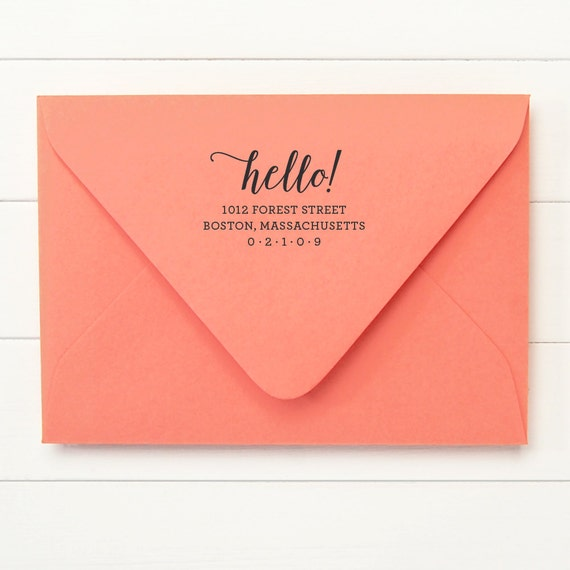 Return Address Stamp / Personalized Address Stamp / Stamp Self Inking  - HELLO DESIGN - Housewarming New Home Gift