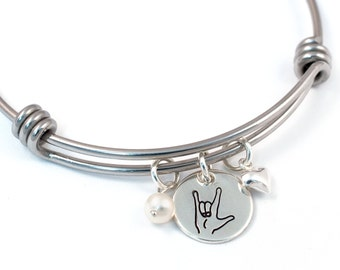 I Love You ASL Silver Expandable Bangle - Expandable Bangle - Silver - Sign Language - Bracelet - Adjustable Bangle