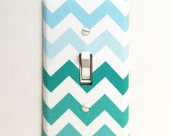 Light Switch Plate Cover - blue ombre chevron