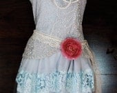 Blue beaded dress party lace flapper 20s Gatsby rose boho vintage  romantic small by vintage opulence on Etsy
