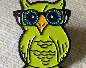 City Owl  Enamel Pin by Print Mafia® - Owls Hipster Woods Outdoors Wildlife