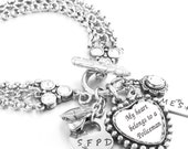 Police Jewelry, Police Officer Bracelet, Wife of Police Officer, Mother, Police Badge, Personalized, Daughter of Policeman, Police Bracelet