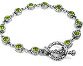 August Birthstone, Crystal Peridot Jewelry, Crystal Birthstone Bracelet, Layering Bracelet, Peridot Bracelet, Birthstone for August