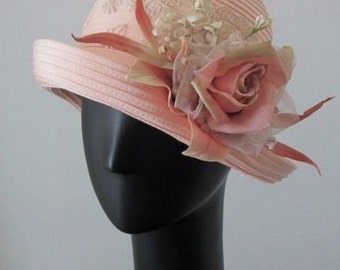 Peach Floral and Lace Cloche Hat